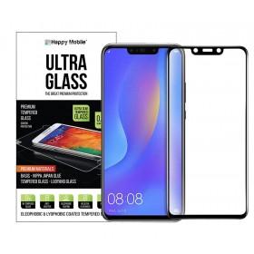 Защитное стекло для Huawei P Smart Plus (Nova 3i / 3) - Happy Mobile 5D Silk Printing (Japan Asahi, Nippa Full Glue) (Черное, Full Glue)