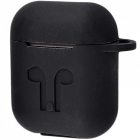 Силиконовый чехол Silicone Case для AirPods MMEF2, MV7N2, MRXJ2 (Embossed Headphones Black)