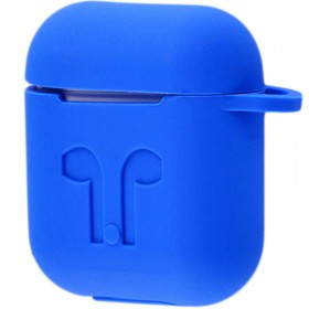 Силиконовый чехол Silicone Case для AirPods MMEF2, MV7N2, MRXJ2 (Embossed Headphones Blue)