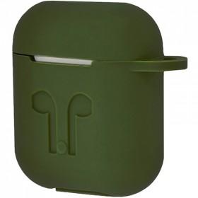 Силиконовый чехол Silicone Case для AirPods MMEF2, MV7N2, MRXJ2 (Embossed Headphones Khaki)