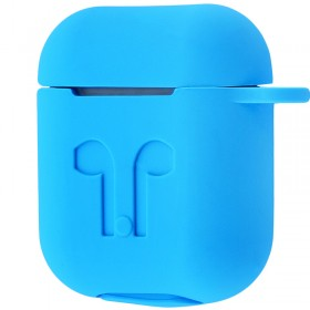 Силиконовый чехол Silicone Case для AirPods MMEF2, MV7N2, MRXJ2 (Embossed Headphones Light Blue)