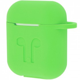 Силиконовый чехол Silicone Case для AirPods MMEF2, MV7N2, MRXJ2 (Embossed Headphones Lime)