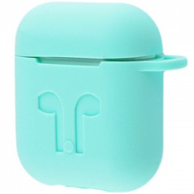 Силиконовый чехол Silicone Case для AirPods MMEF2, MV7N2, MRXJ2 (Embossed Headphones Sky Blue)