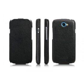 Кожаный чехол для HTC One S Z320e (ICareR black flip)