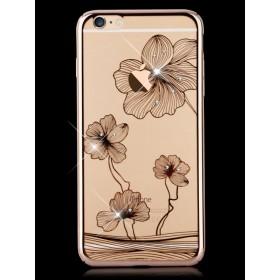 Чехол с кристалами Comma Crystal Flora 360 для iPhone 6 / 6s (Champagne Gold)