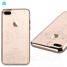 Чехол с кристалами Devia Crystal Iris soft TPU case для iPhone 7 Plus | 8 Plus (Champagne Gold)