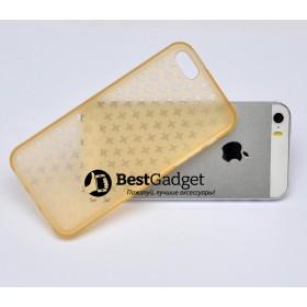 Чехол Cross Lines TPU для iPhone 5 / 5s (Золотой | Прозрачный)