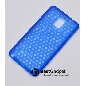 Чехол Cross Lines TPU для Samsung Galaxy Note 4 (Синий   Прозрачный)