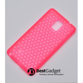 Чехол Cross Lines TPU для Samsung Galaxy Note 4 (Розовый| Прозрачный)