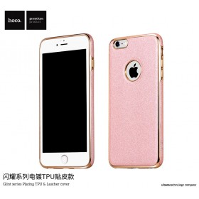 Чехол HOCO Glint Series Plating TPU + Leather для iPhone 6 / 6s (Rose Gold)