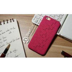 Чехол iCase 3D Silicone Puzzle для iPhone 6 (Малиновый Пазл)