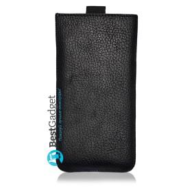 Чехол-мешочек Premium Leather SB1995 для iPhone 6s / 7 (Черная фактурная кожа)