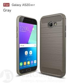 Чехол накладка Carbon Fiber TPU для Samsung Galaxy A5 2017 (A520) (Серый)