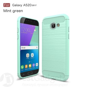 Чехол накладка Carbon Fiber TPU для Samsung Galaxy A5 2017 (A520) (Зеленый)
