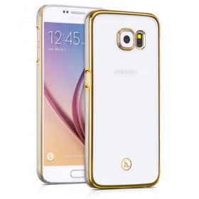 Чехол накладка HOCO Defender series для Samsung Galaxy S6 (Прозрачная / Золото)