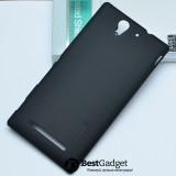 Чехол Nillkin Super Frosted Shield для Sony Xperia C3 (Matte Черный) + защитная плёнка