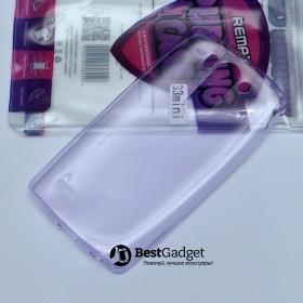Чехол Ultra Thin Silicon Remax 0.2mm для LG G3s (Dual D724) (Прозрачный / Фиолетовый)