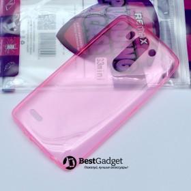 Чехол Ultra Thin Silicon Remax 0.2mm для LG G3s (Dual D724) (Прозрачный / Красный)