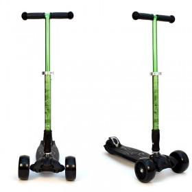 Детский самокат 3Style Scooters® JW032 Pro - Великобритания (Non-Flashing Wheels, Foldable T-bar, Green color)