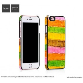 Кожаная накладка HOCO Platinum series Gorgeous Bamboo для iPhone 6 / 6s (Pink/Orange)