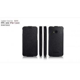Кожаный чехол IcareR для HTC One M7 (Black flip)