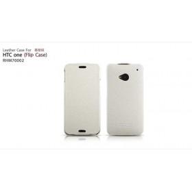 Кожаный чехол IcareR для HTC One M7 (White flip)