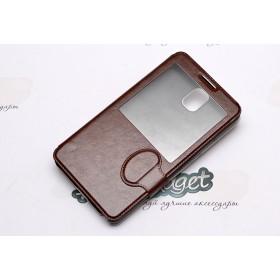 Кожаный чехол iCase Tec для Samsung n9000 Galaxy Note 3 (Book Strap ID Brown)