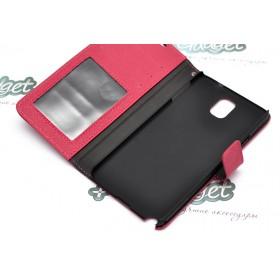 Кожаный чехол iCase Tec для Samsung n9000 Galaxy Note 3 (Book Strap Pink)
