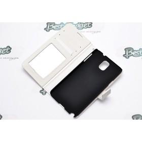 Кожаный чехол iCase Tec для Samsung n9000 Galaxy Note 3 (Book Strap White)