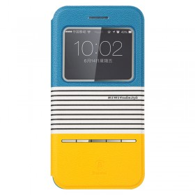 Кожаный чехол книжка Baseus Eden Leather для iPhone 5/5S (Orange+Blue)