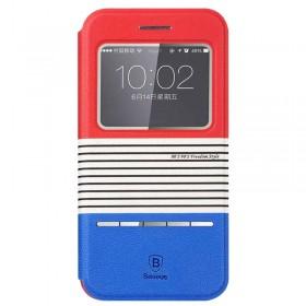Кожаный чехол книжка Baseus Eden Leather для iPhone 5/5S (Red+Blue)