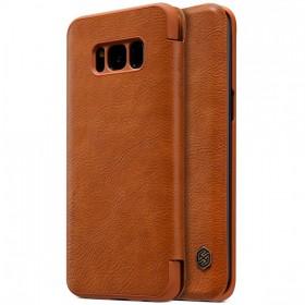 Кожаный чехол (книжка) Nillkin Qin series для Samsung Galaxy S8 Plus + (Коричневый)