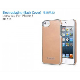 Кожаный чехол накладка IcareR для iPhone 5 / 5s / SE (Electroplating beige)