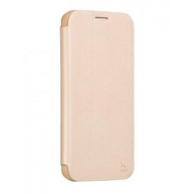 Кожанный чехол-книжка HOCO Juice Series Nappa для Samsung S6 Edge + (Золотой)