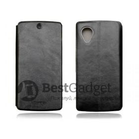Mofi! Кожаный чехол книжка для LG Google Nexus 5   Черный с функцией подставки
