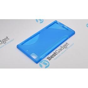 Полимерный TPU чехол Duotone для Lenovo K900 (Прозрачный/Синий)