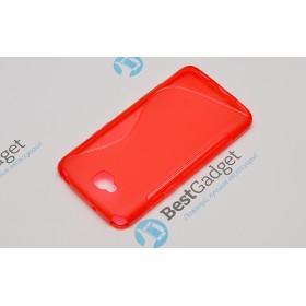 Полимерный TPU чехол Duotone для LG G Pro Lite Dual D686 (Прозрачный/Красный)