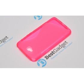 Полимерный TPU чехол Duotone для LG G Pro Lite Dual D686 (Прозрачный/Розовый)
