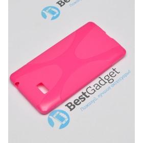 Полимерный TPU чехол New Line X-series для HTC Desire 600 (Розовый) + Защитная пленка