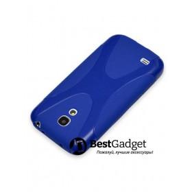 Полимерный TPU чехол New Line X-series для Samsung Galaxy S4 Mini (Синий) + Защитная пленка