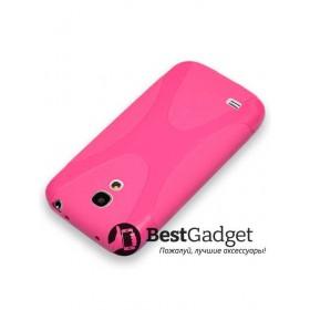 Полимерный TPU чехол New Line X-series для Samsung Galaxy S4 Mini (Розовый) + Защитная пленка