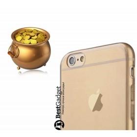 Ультра-тонкий TPU чехол Baseus Simple Case для iPhone 6 / 6s (Золотой / Прозрачный)