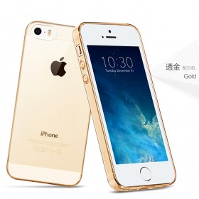 Ультра тонкий TPU чехол HOCO Light Series для Apple iPhone SE / 5 / 5s (0.6mm Золото)