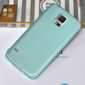 Ультра тонкий TPU чехол HOCO Light Series для Samsung Galaxy S5 (0.6mm Прозрачный Синий)