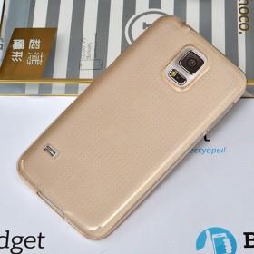 Ультра тонкий TPU чехол HOCO Light Series для Samsung Galaxy S5 (0.6mm Прозрачный Золотой)